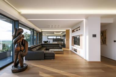 Hlavní obytná místnost se sedací soupravou, televizní obrazovkou a dřevěnou skulpturou. V zadní části je vidět kuchyňská sekce s jídelnou oddělitelná posuvnou dřevěnou stěnou